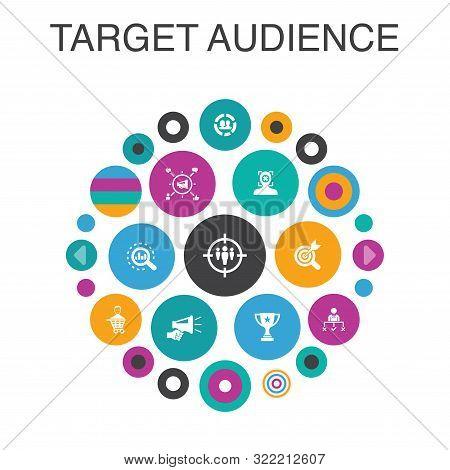 Target Audience Infographic Circle Concept. Smart Ui Elements Consumer, Demographics, Niche
