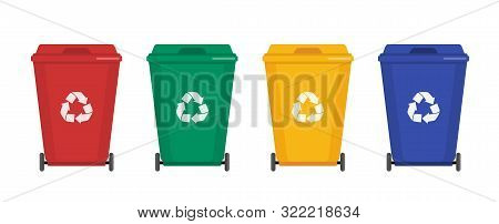 Garbage Cans Vector Flat Illustrations. Sorting Garbage. Ecology And Recycle Concept. Trash Cans Iso