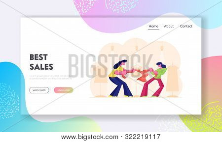 Sale Fight Website Landing Page. Shopaholic Women Fighting Over Sweater During Black Friday Discount