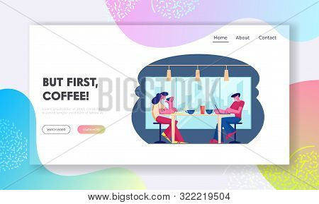 Hospitality Website Landing Page. Young People Visiting Cafe Sitting At Tables Drinking Beverages, W