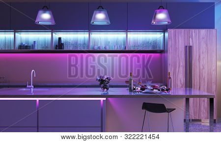 Modern Kitchen With Colored Led Lights. Light Strip In Blue Color And Three Lamps In Purple Color. S