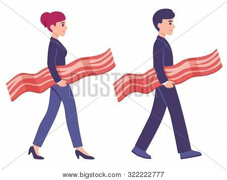 Bringing Home The Bacon Concept Illustration, Man And Woman In Work Suits Carrying Strip Of Bacon. M