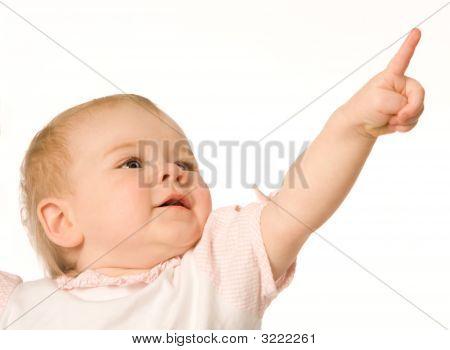 Little Girl Pointing Upwards