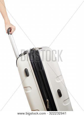 Plastic Travel Suitcase. White Suitcase Isolated On White Background. Polycarbonate Suitcase Isolate