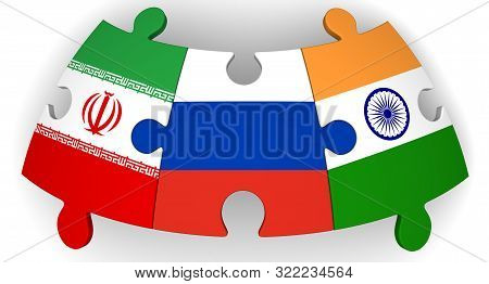 Cooperation Of Russia, India And Iran. Puzzles With Flags Of Russian Federation, India And Iran Toge