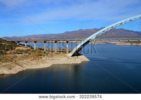 Roosevelt Bridge And Roosevelt Lake In Southeast Arizona