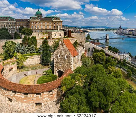 Drone photo of buda castle and danube with chain bridge Budapest, Hungary.