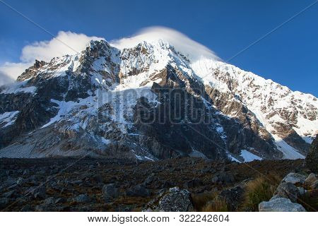 Evening View Of Mount Salkantay, Salkantay Trek In The Way To Machu Picchu, Cuzco Area In Peru