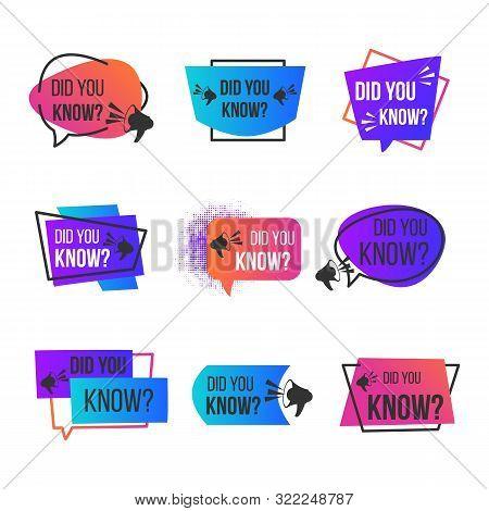 Did You Know Label Set. Badge With Megaphon Social Media Faq Banner For Label Design. Vector Illustr