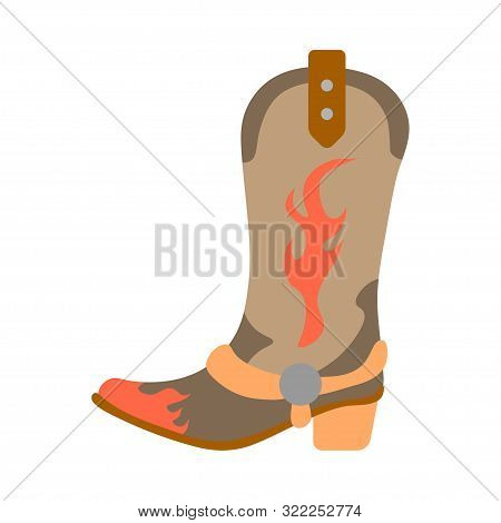 Vector Illustration Color Icon With Simplified Leather Cowboy Boots. Wild West Cowboy Authentic Symb