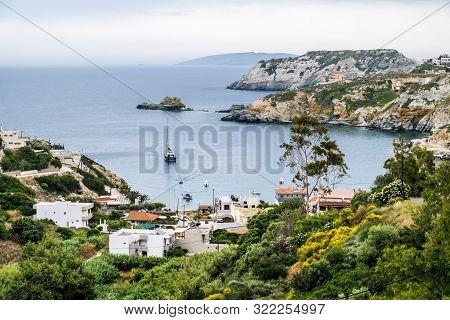 Agia Pelagia.crete.may 30, 2019. View Of Agia Pelagia Resort In The Mountains Of Crete In Greece