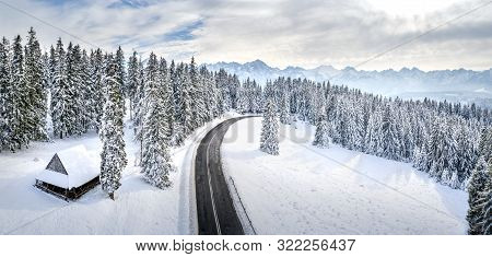 Mountain Landscape With Road. Scenic Mountains In Winter. Poland, Zakopane. Winter Nature Background
