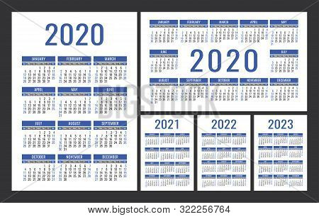Calendar 2020, 2021, 2022 And 2023. English Color Vector Set. Vertical And Horizontal Wall Or Pocket