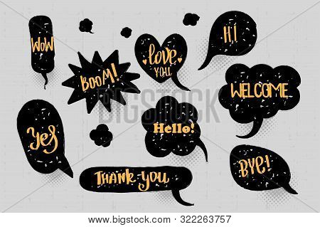 Comic Text Speech Bubble Pop Art Style Halftone Background. Set Black Cloud Talk Speech Bubble. Isol
