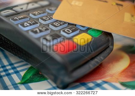 Pos Terminal, Payment Machine With Credit Card. Contactless Payment With Nfc Technology