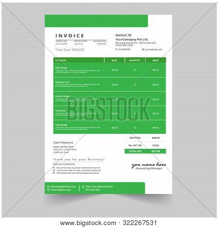 Minimal Business Invoice Template Vector Design