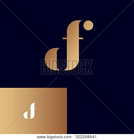 D, F Logo. D And F Monogram. Original Gold Symbol On Different Backgrounds. Web, Ui Icon.