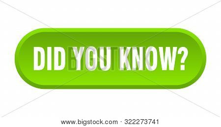 Did You Know Button. Did You Know Rounded Green Sign. Did You Know