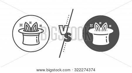 Magic Tricks With Hat And Rabbit Sign. Versus Concept. Hat-trick Line Icon. Illusionist Show Symbol.