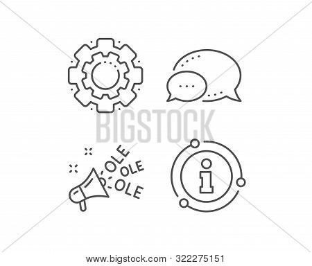 Ole Chant Line Icon. Chat Bubble, Info Sign Elements. Championship With Megaphone Sign. Sports Event