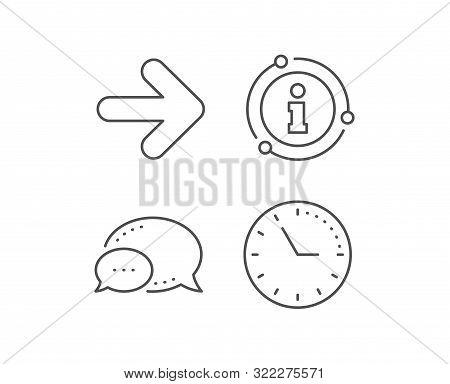 Next arrow line icon. Chat bubble, info sign elements. Forward Arrowhead symbol. Navigation pointer sign. Linear next outline icon. Information bubble. Vector poster
