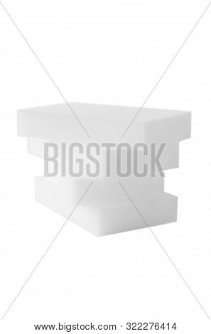 Melamine Sponges Isolated On White Background. The Concept Of House Cleaning And Surfaces Cleaning.