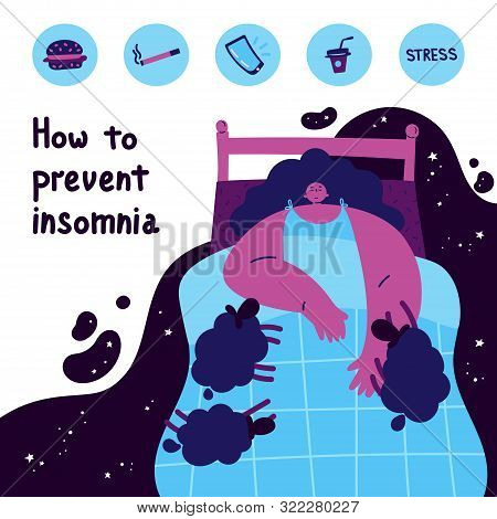 Young Woman Who Has Overcome Insomnia Lying In Bed.woman Suffering From Insomnia.what Causes Insomni