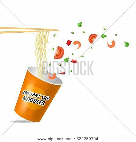 Realistic Detailed 3d Instant Noodles On A White With Chopstick Quick Traditional Cuisine Concept Fo