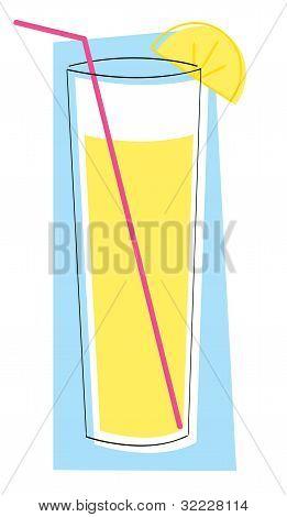 Glass of lemonade with lemon slice and straw