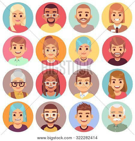 Cartoon Avatars. People Of Different Sexes, Ages And Races. Face Avatars Of Multicultural Characters