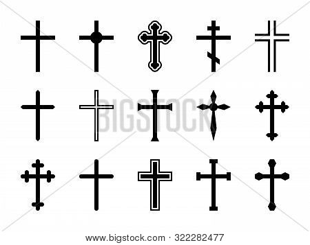Christian Cross. Jesus Christ Crucifix, Different Shapes Of Orthodox And Catalytic Crosses Religious