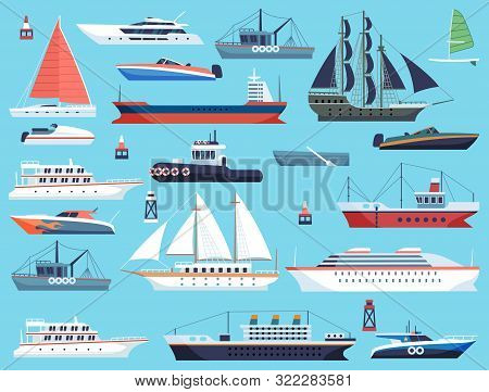 Ships In Harbor. Shipping Speedboating Cruiser And Sailboat, Isolated Vector Flat Sea Marine Travel