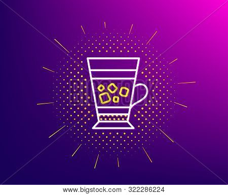 Frappe Coffee Icon. Halftone Pattern. Cold Drink Sign. Beverage Symbol. Gradient Background. Frappe