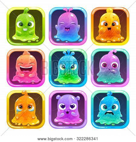 Cute Cartoon Colorful Slimy Characters In The Square Frames. Slime Game Logo Set.