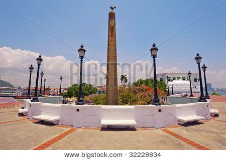 Obelisk Topped By A Rooster,  Symbol Of The French Nation In Panama City