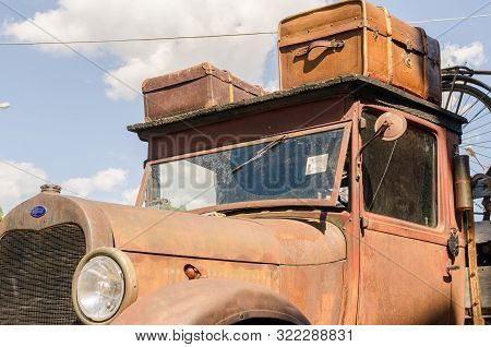 Wroclaw, Poland - August 11, 2019: Usa Cars Show - Old Rusty Ford Truck Pickup 1930 - 1931-1939 With