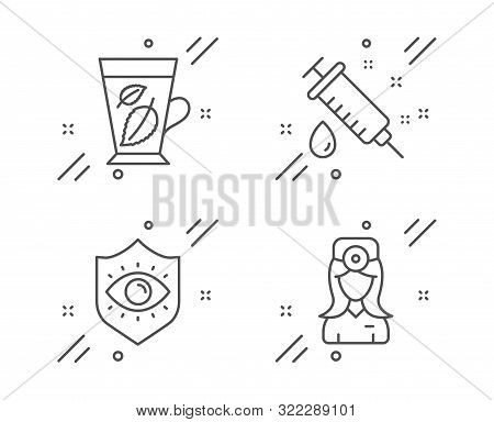 Medical Syringe, Eye Protection And Mint Leaves Line Icons Set. Oculist Doctor Sign. Vaccination, Op