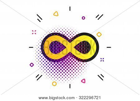 Limitless Sign Icon. Halftone Dots Pattern. Infinity Symbol. Classic Flat Limitless Icon. Vector