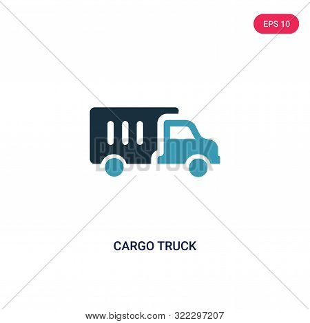 cargo truck icon in two color design style.