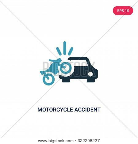 motorcycle accident icon in two color design style.