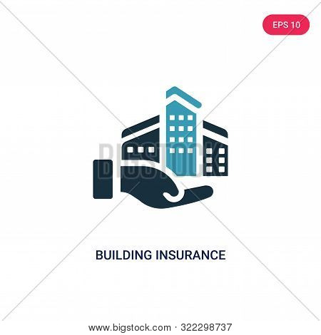 building insurance icon in two color design style.