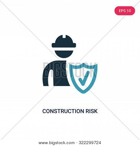 construction risk icon in two color design style.