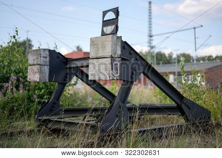 Buffer Stop At The End Of A Disused Railway Track, Selected Focus