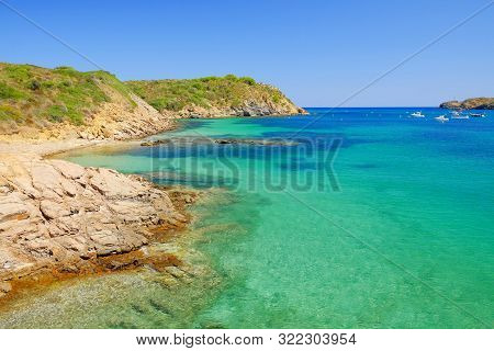 View On The Lagoon With Crystal Water Of Amazing Color On The Beach Platja Es Grau On Menorca, Balea