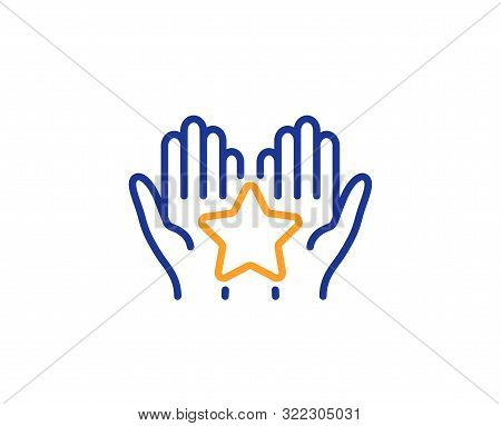 Holding Star Sign. Ranking Line Icon. Best Rank Symbol. Colorful Outline Concept. Blue And Orange Th