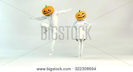 Halloween Dinner and Dance Spooky Party Pumpkin 3d Render