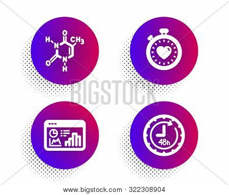 Chemical Formula, Heartbeat Timer And Seo Statistics Icons Simple Set. Halftone Dots Button. 48 Hour