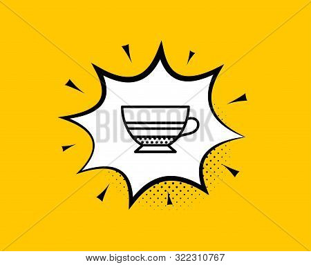 Mocha Coffee Icon. Comic Speech Bubble. Hot Drink Sign. Beverage Symbol. Yellow Background With Chat