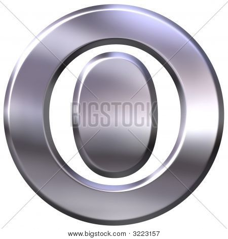 3D Silver Letter O