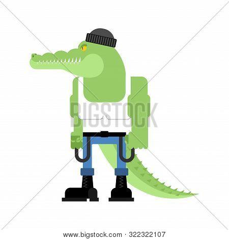 Bully Crocodile. Hooligan Alligator. Hoodlum Croc. Vector Illustration